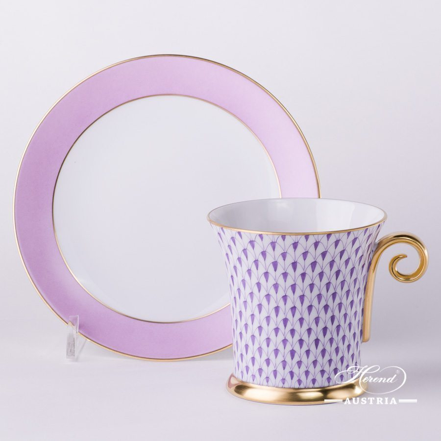 Tea Cup and Saucer 4917-0-00 VHL Lilac Fish scale design. Tea Cup with Spiral Handle. Herend fine china. Hand painted tableware. Modern pattern