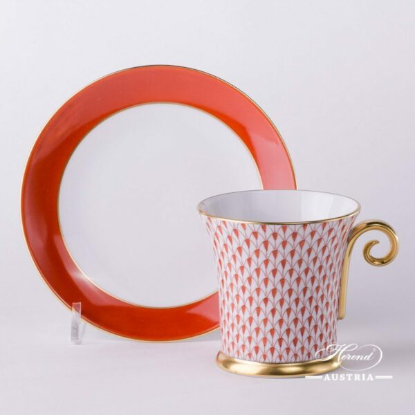 Tea Cup and Saucer 4917-0-00 VH Red Fish scale design. Tea Cupwith Spiral Handle. Herend fine china. Hand painted tableware. Modern pattern
