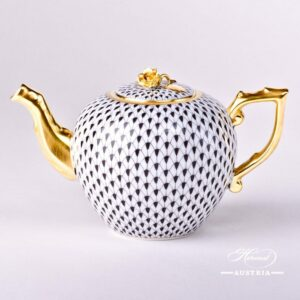 Black Fish Scale - Tea Pot w. Rose Knob