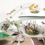 Dinner Set for 6 Persons - Herend Hunter Trophies CHTM pattern. Green Rim. Herend fine chinahand painted. Tableware