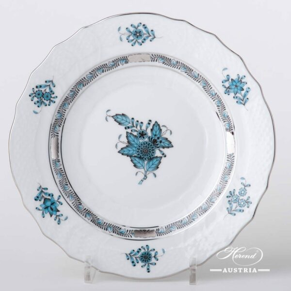 Dessert Plate 1518-0-00 ATQ3-PTChinese Bouquet Turquoise / Apponyi ATQ3-PTpattern. Turquoisew. Platinum design. Herend fine china. Hand painted tableware