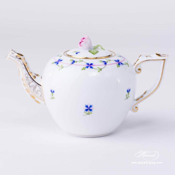 Tea Pot with Rose Knob 606-0-09 PBG Cornflower Garland design. Herend fine china. Hand painted tableware