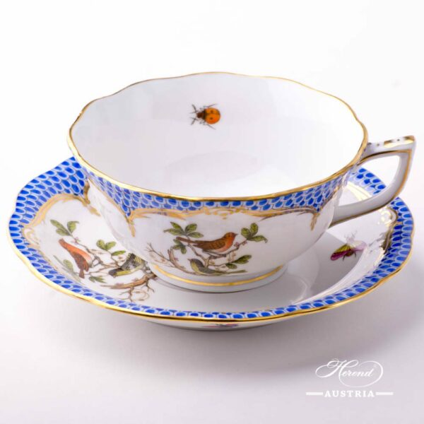 Tea Cup with Saucer 734-0-00 RO-EB Rothschild Bird Blue Fish scale decor. Herend porcelain. Hand painted tableware