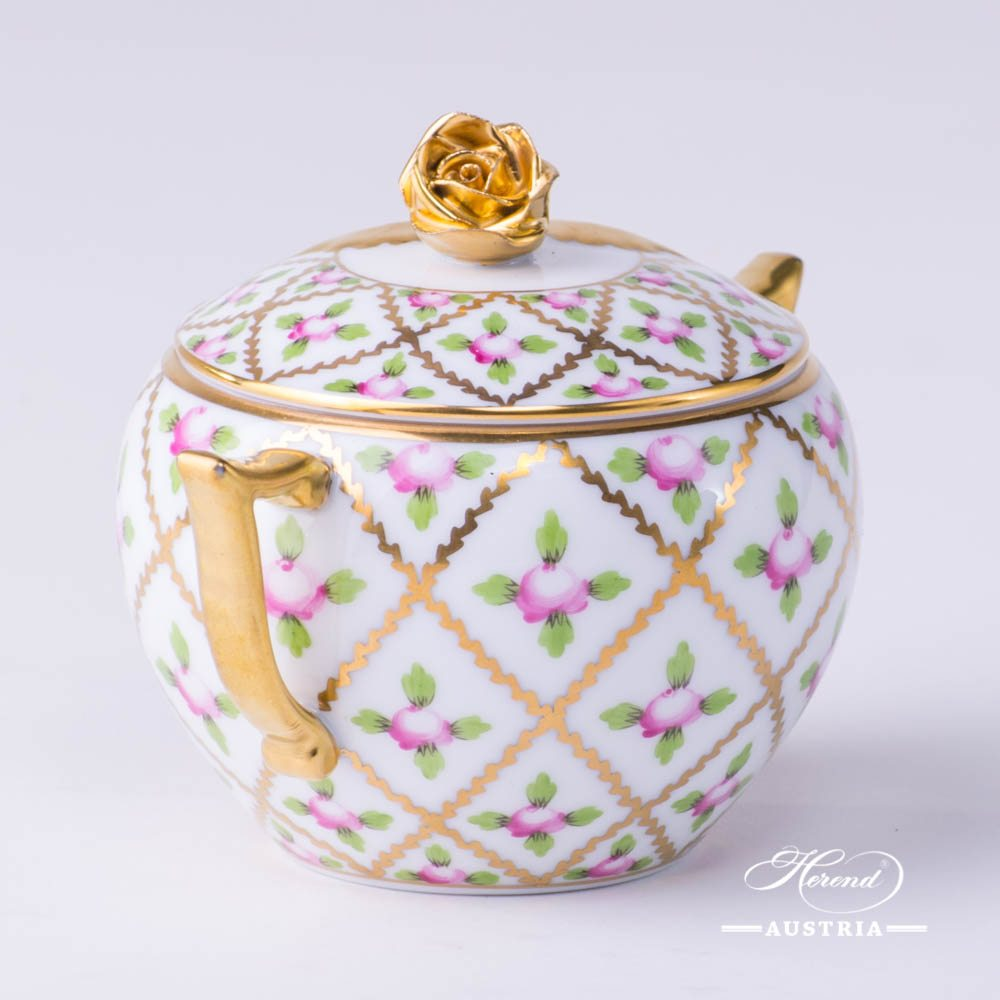 Sugar Basin with Rose Knob 20472-0-09 SPROG Sevres Roses design. Herend porcelain. Hand painted tableware