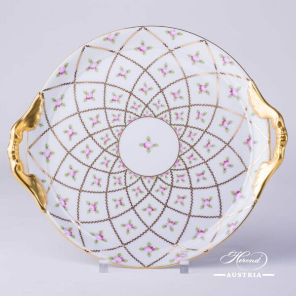 Cake Plate with Handles 2315-0-00 SPROG Sevres Roses design. Herend porcelain. Hand painted tableware