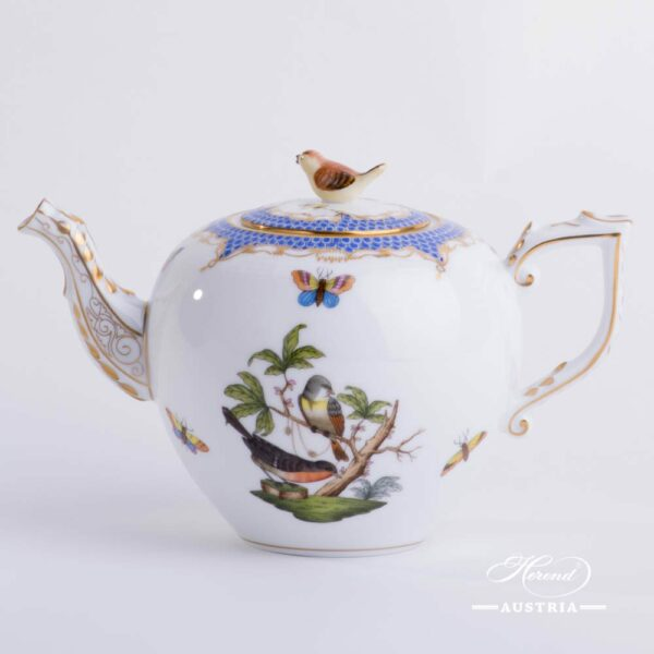 Tea Pot with Bird Knob 606-0-05 RO-ETB Rothschild Bird Blue Fish scale decor. Herend porcelain. Hand painted tableware