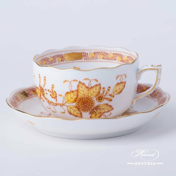 Tea Cup with Saucer 724-0-00 FJ Indian Basket Yellow design. Herend fine china. Hand painted tableware
