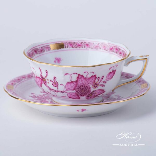 Tea Cup with Saucer 734-0-00 FP Indian Basket Purple design. Herend fine china. Hand painted tableware