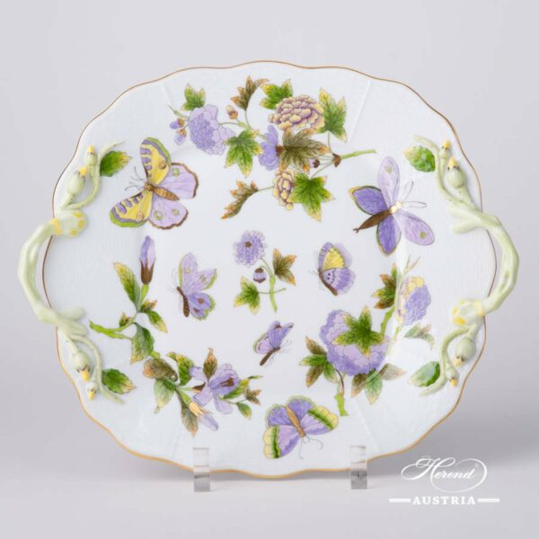 Cake Plate with Handle430-0-00 EVICT1 Royal Garden Green Flower and Butterfly pattern. Herend fine chinahand painted. Tableware