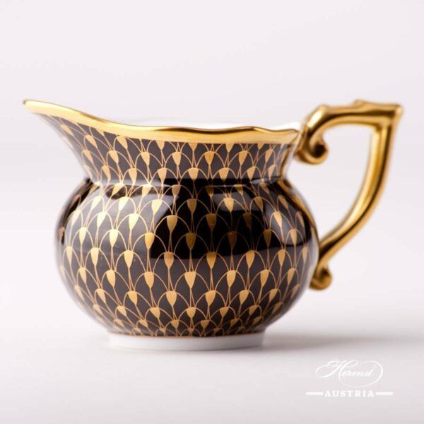 Creamer / Milk Jug 20644-0-00 VHN-OR Gold Fish Scale on Black Background pattern. Herend fine china. Hand painted tableware
