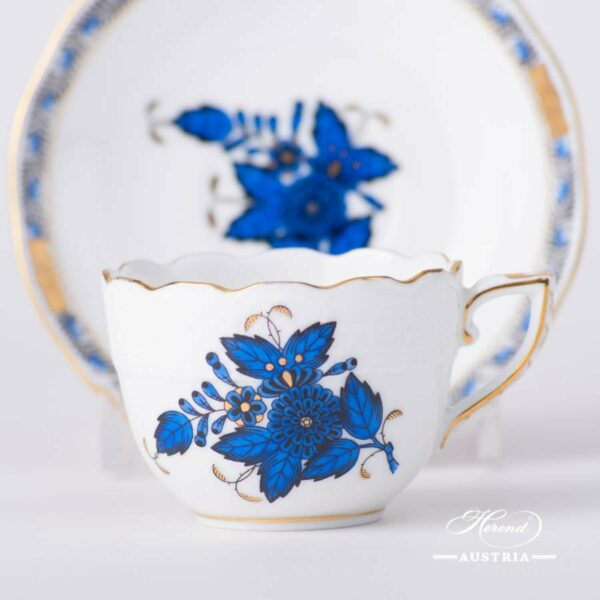 Coffee / Espresso Cup and Saucer 711-0-00 AB3-X1 Apponyi Blue / Chinese Bouquet Blue design. Herend porcelain. Hand painted tableware. Demitasse