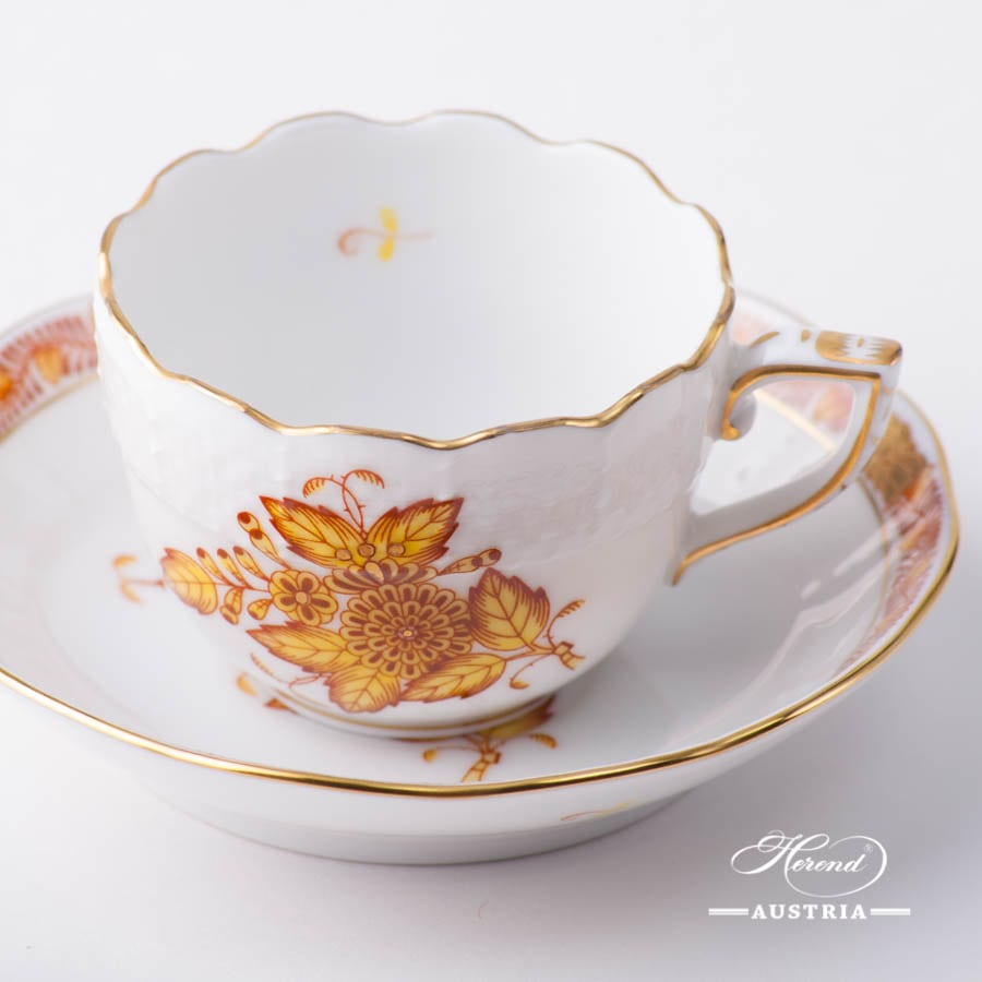 Coffee / Espresso Cup and Saucer 711-0-00 AJ Apponyi Yellow / Chinese Bouquet Yellow design. Herend porcelain. Hand painted tableware. Demitasse