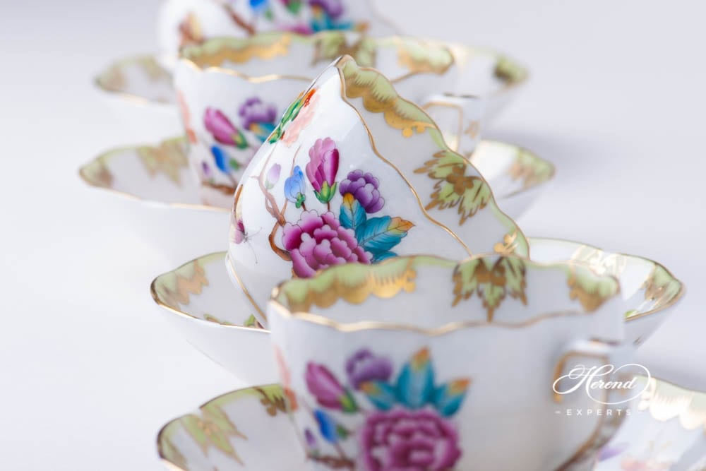 Coffee / Espresso Cup and Saucer 711-0-00 VICTORIA Old Queen Victoria design. Herend porcelain. Hand painted tableware. Demitasse