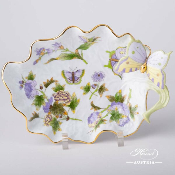 Leaf Dish 7757-0-17 EVICT1 Royal Garden Green Flower and Butterfly pattern. Herend fine china hand painted. Tableware