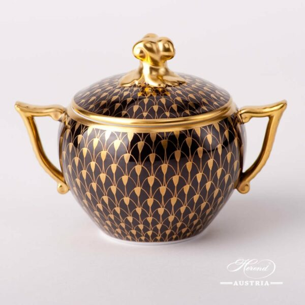 Sugar Basin with Twisted Knob 20472-0-06 VHN-OR Gold Fish Scale on Black Background pattern. Herend fine china. Hand painted tableware