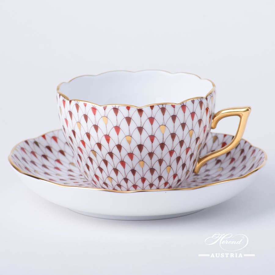 Tea / Coffee Cup with Saucer 20730-0-00 VHSP18 Burgundy, Brown and Gold Special Fish scale design. Herend fine china. Hand painted tableware