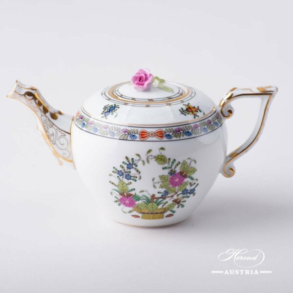 Mini Tea Pot with Rose Knob 608-0-09 FD Indian Basket Multicolor pattern. Herend fine china. Hand painted tableware