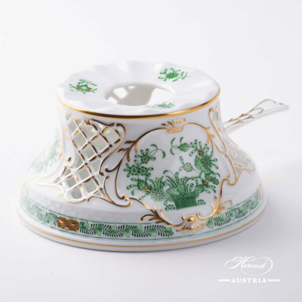 Tea Stove 455-0-00 FV Indian Basket Green pattern. Herend fine china hand painted. Tableware. Classic Herend design