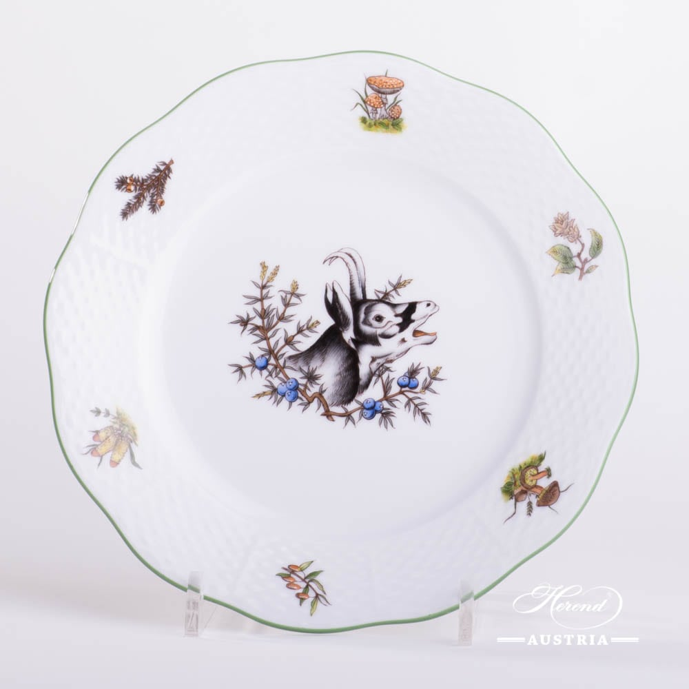 Dessert Plate 519-0-00 CHTM Hunter Trophies pattern. Chamois motif. Herend fine china. Hand painted tableware