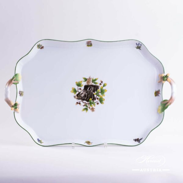 Tray / Platter 428-0-00 CHTM Hunter Trophies pattern. Wild Boar motif. Green rim. Herend fine china. Hand painted tableware