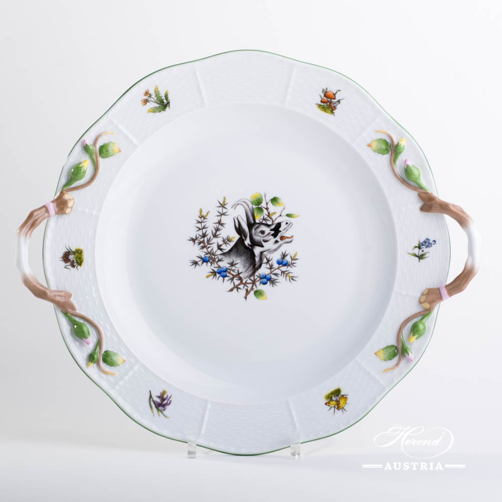 Round Dish w. Handles 171-0-00 CHTM Hunter Trophies  pattern. Chamois motif. Green rim. Herend fine china. Hand painted tableware
