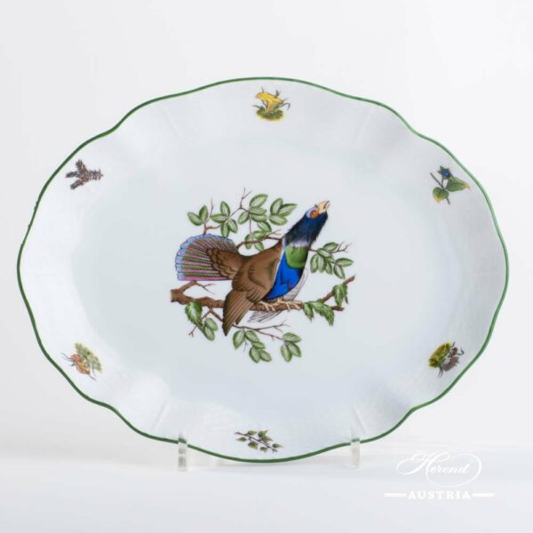 Oval Dish 211-0-00 CHTM Hunter Trophies pattern. Blackcock motif. Green rim. Herend fine china. Hand painted tableware