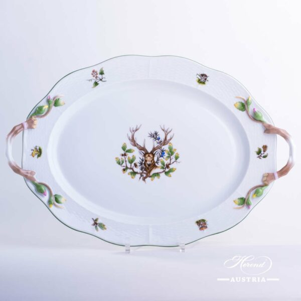 Oval Dish w. Handles 121-0-00 CHTM Hunter Trophies  pattern. Deer motif. Green rim. Herend fine china. Hand painted tableware