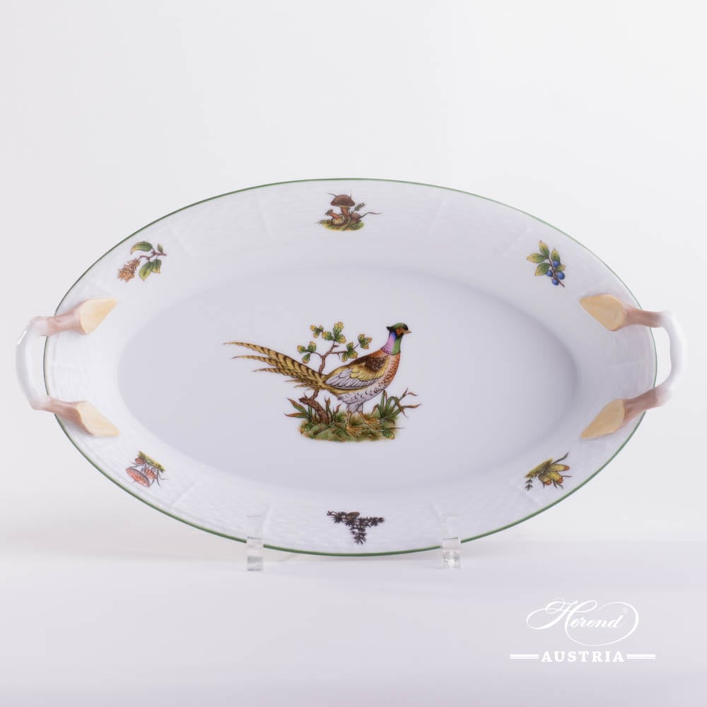Bread Basket 380-0-00 CHTM Hunter Trophies pattern. Pheasant motif. Green rim. Herend fine china. Hand painted tableware