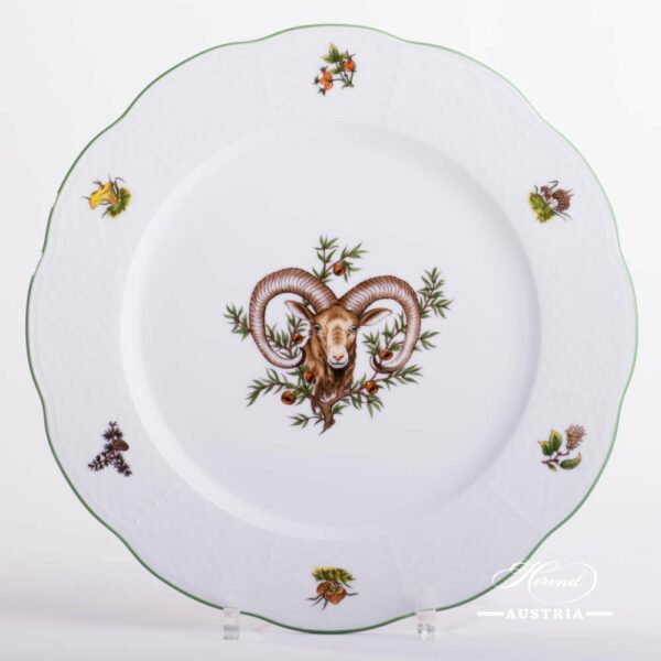 Dinner / Serving Plate 527-0-00 CHTM Hunter Trophies  pattern. Mouflon motif. Service Plate with Green rim. Herend fine china. Hand painted tableware
