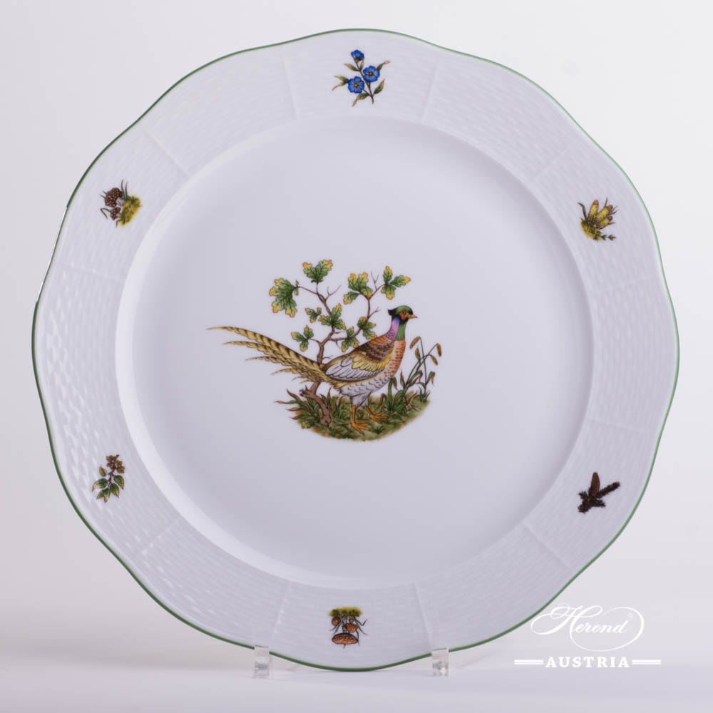 Round Dish 156-0-00 CHTM Hunter Trophies pattern. Pheasant motif. Green rim. Herend fine china. Hand painted tableware