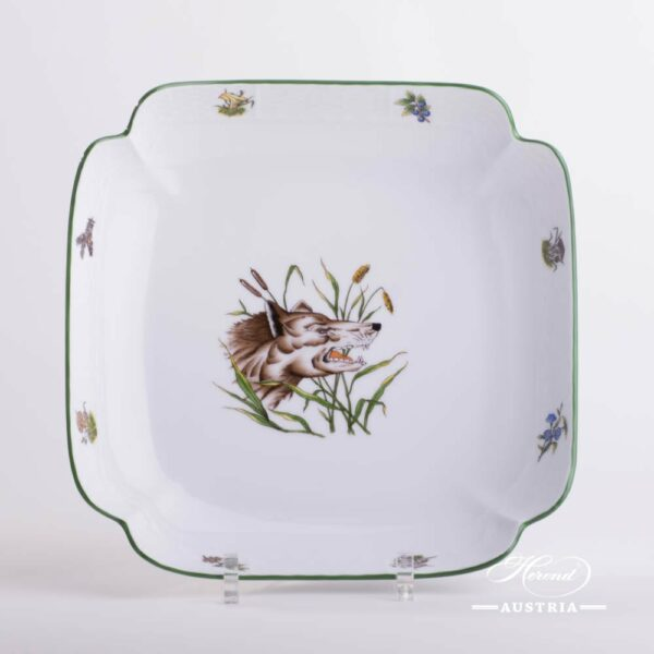 Salad Dish 181-0-00 CHTM Hunter Trophies pattern. Wolf motif. Green rim. Herend fine china. Hand painted tableware