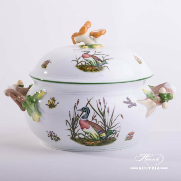 Soup Tureen w. Mushroom Knob 3777-0-20 CHTM Hunter Trophies pattern. Herend fine china. Hand painted tableware