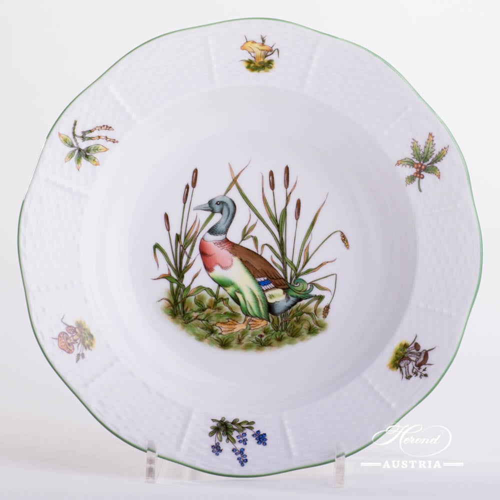 Soup Plate 501-0-00 CHTM Hunter Trophies pattern. Wild Duck motif. Green rim. Herend fine china. Hand painted tableware