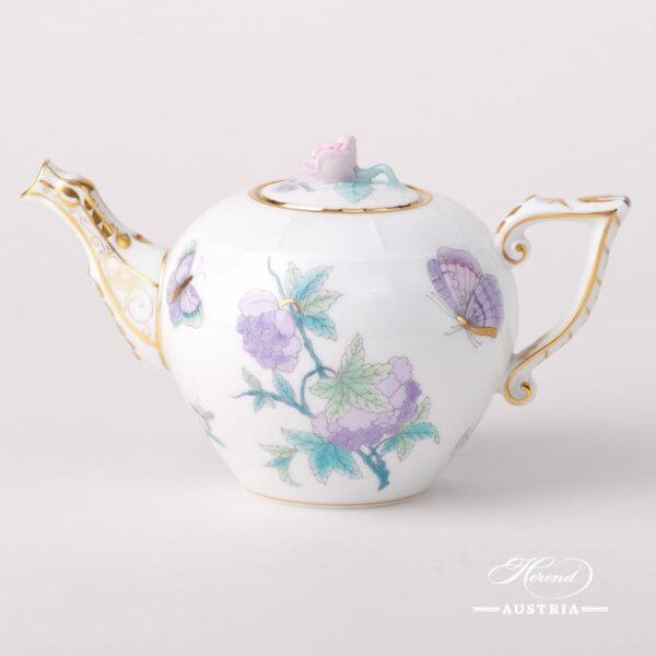 Mini Tea Pot w. Rose Knob 608-0-09 EVICT2 Royal Garden design. Classic Herend design. Herend fine china. Hand painted tableware