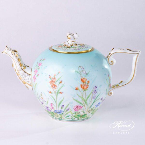 Tea Pot w. Twisted Knob 20605-0-06 QS Four Seasons pattern. Herend porcelain