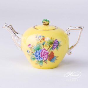 Tea Pot - Miniature - Queen Victoria on Yellow Background