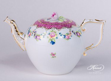 Tea Pot - Flower Garland Purple Fish Scale