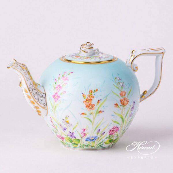 Tea Pot w. Rose Knob 20605-0-09 QS Four Seasons pattern. Herend porcelain