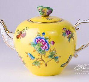 Tea Pot - Queen Victoria on Yellow Background