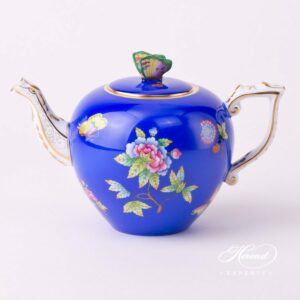 Tea Pot - Queen Victoria on Blue Background