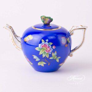 Tea Pot - Queen Victoria on Blue Background