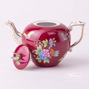 Tea Pot - Queen Victoria on Purple Background