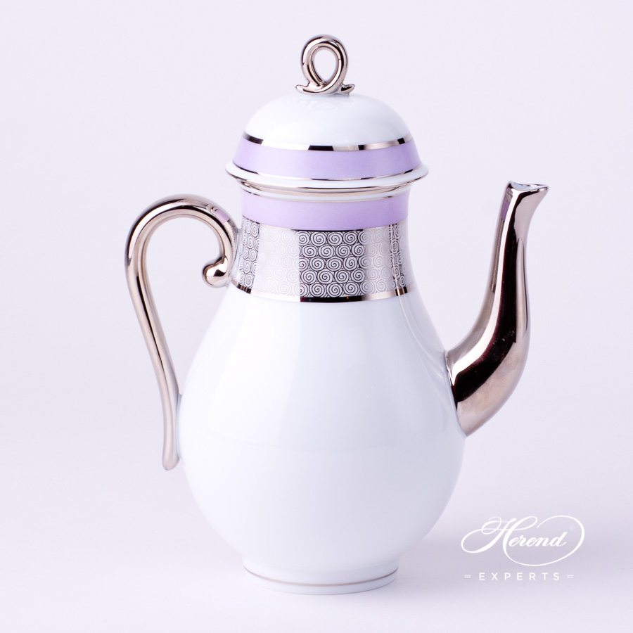 Herend - Coffee Pot w. Loop Knob 2613-0-13 ORIENTL-PT Orient Lilac w. Platinum design. Herend fine china