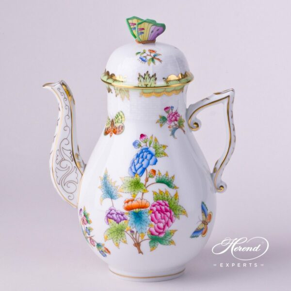 Herend - Big Coffee Pot w. Butterfly Knob 612-0-17 VBO Queen Victoria design. Herend fine china