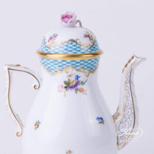 Coffee Pot - Flowers with Blue Scales