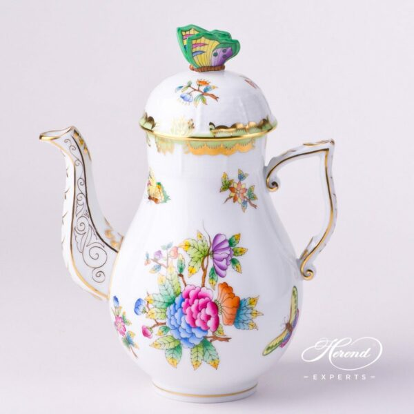 Herend - Coffee / Espresso Pot w. Butterfly Knob 614-0-17 VBO Queen Victoria design. Herend fine china