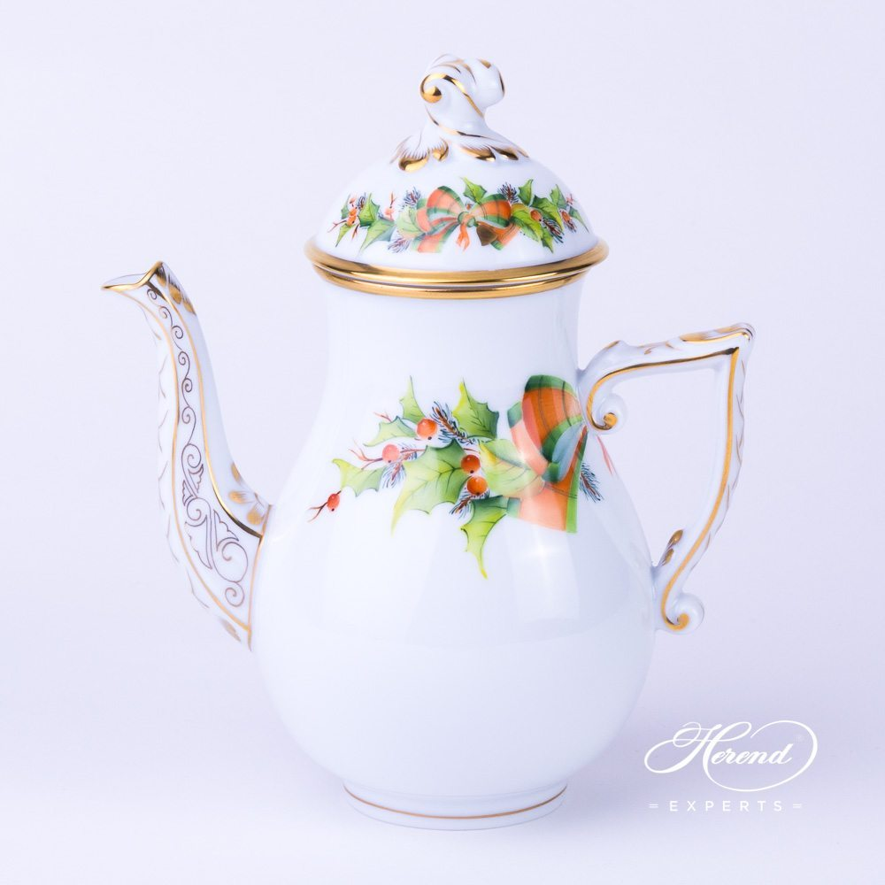 Herend - Coffee Pot w. Twisted Knob 20613-0-06 NOEL Christmas design. Herend fine china