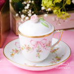 Herend - Tea / Coffee Cup w. Saucer and Lid 20705-0-09  EDENP Eden Pink design. Herend fine china