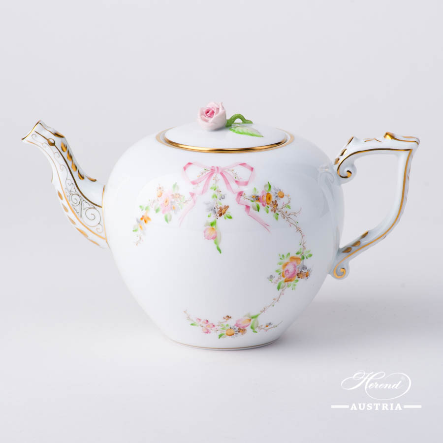 Herend - Tea Pot w. Rose Knob 20606-0-09 EDENP Eden Pink design. Herend fine china
