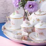 Tea Set for 2 People w. Special Cup- HerendEden Pink - EDENP pattern. Tea Cup w. Lid. Herend fine china